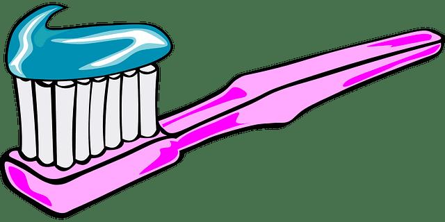 歯ブラシイメージでピンクの歯ブラシに水色の歯磨き粉