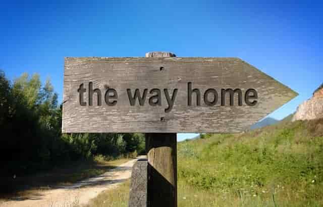 the way homeの文字の看板