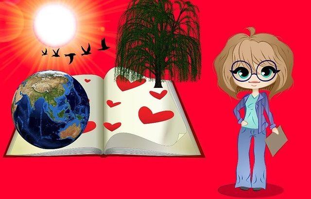 メッセンジャーイメージ女性と鳥と地球とハート