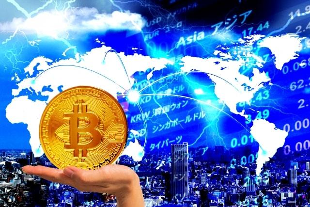 証券市場イメージとビットコイン