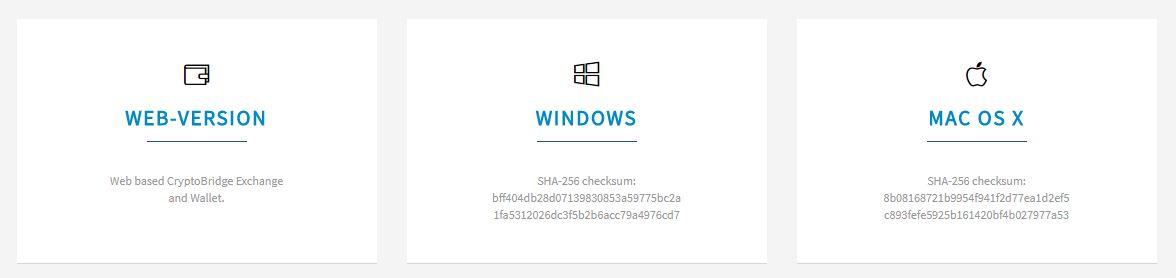 CryptoBridgeサービス選択画面