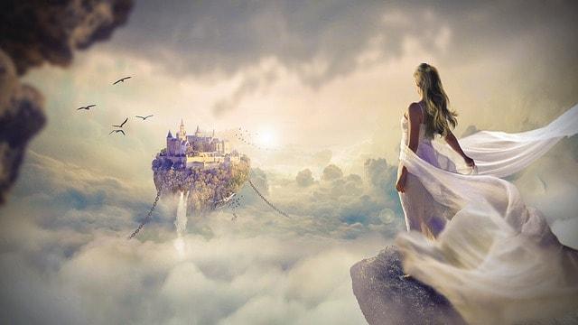 マネックスICOイメージで天空の城と天使のような女性