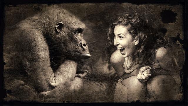 喜びイメージ猿と笑う女性